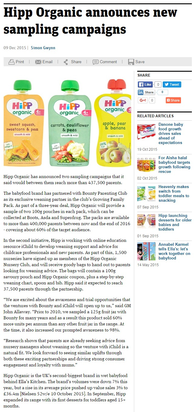 The Grocer online - 9th December - News - HiPP Organic sampling campaign...